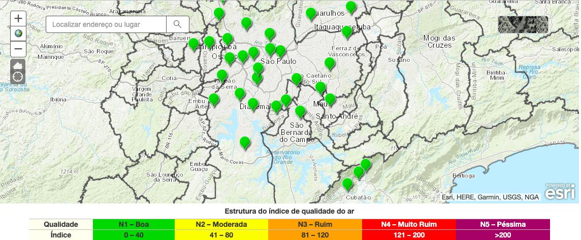 Mapa do índice de qualidade do ar da CETESB (atualizado em tempo real)