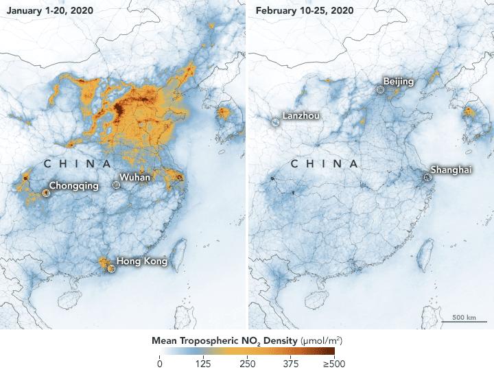 Nasa divulga imagens de satélite que mostram poluição na China antes e depois do surto de coronavírus